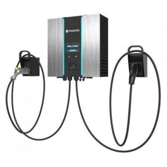 DC Charger Wallbox 30kW CCS2 +CHAdeMO EV Charger Wallbox RFID+WiFi+LAN+4G 2 Ladekabel