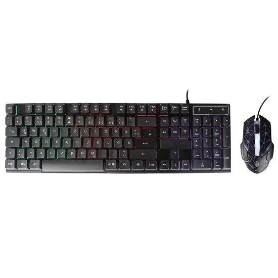 Gaming Tastatur & Maus Set, Terax, schwarz Trendige Hintergrundbeleuchtung, Plug & Play