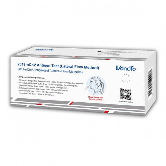 Wondfo Biotech Nasal Antigentest - Eigenanwendung BfArM Zulassung 5640-S-179/21, 5er Set