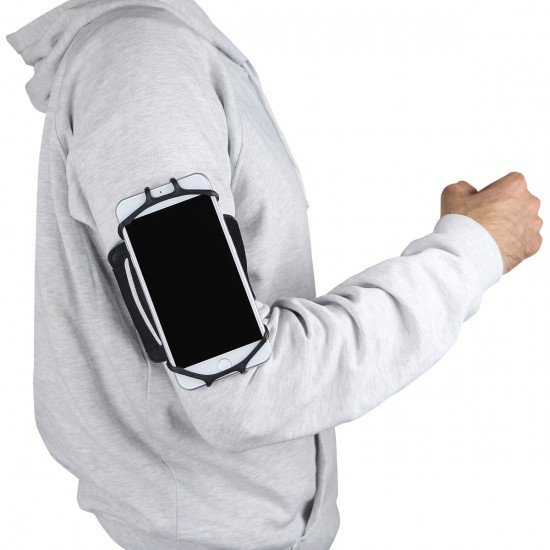 Smartphonehalter Set: Armband + Lenkerhalterung sw Silikon, 360° Drehbar, komp. Handys 4-6,5 inch