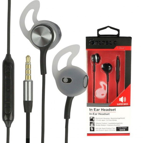 In-Ear Stereo-Headset V415 3.5mm sw/anthrazit 3-Tasten-Fernbedienung,Mikrofon,Ergonomische Form