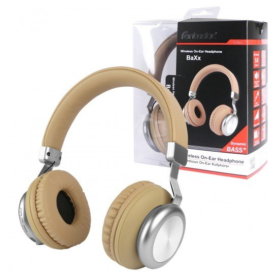 Drahtloser On-Ear Kopfhörer BaXx Beige/Silber BT + Line-In, Bass+, MIkrofone, Volume Control