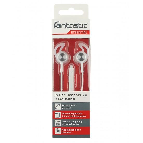 Essential In-Ear Stereo-Headset V4 ws/silber 3-Tasten-Fernbedienung,Mikrofon,Ergonomische Form