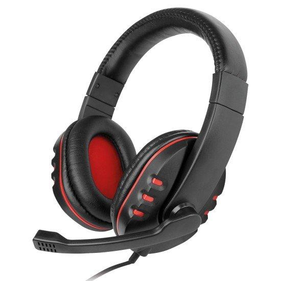Gaming Headset NoXx, 2M Kabel, schwarz / rot Mikrofon, Lautstärkeregler, AUX Y-Splitter für PC