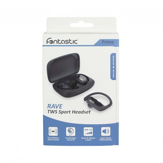 Kabellose Stereo Sportkopfhörer Rave, schwarz Ladebox mit Intelligenter LED Ladezustandanzeige