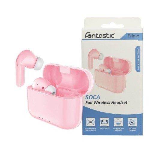 True Wireless Stereo Kopfhörer Soca pink Musik und Telefonieren, inkl. tragbare Ladestation