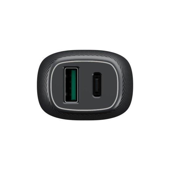 Kfz-Ladeadapter USB Fast Charge 3.0 + Typ-C PD 36W Dual Port, DC 12-24V, schwarz