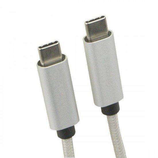 Datenkabel Elox USB Type-C > Type-C 2.0 1m Silber Stecker Alu-Gehäuse Kabel Nylon-Ummantelung
