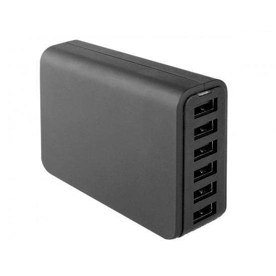 Netzteil Zeta 6x USB 12A 60W schwarz mit integriertem Smart IC
