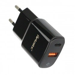 AC Charger Fort Type-C PD + USB-A FC3 18W black