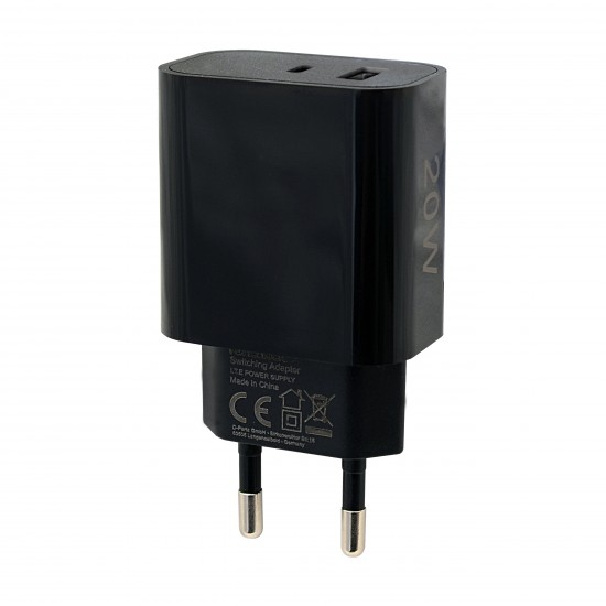 Netzteil Fort22 Type-C PD + USB-A FC3 20W schwarz
