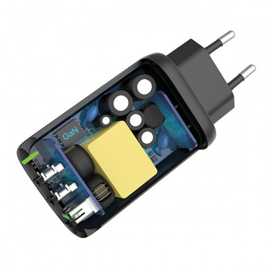 Netzteil GaNto Type-C PD + USB-A FC3 GaN 65W Power Delivery, Fast Charge 3, max.3.25A, schwarz