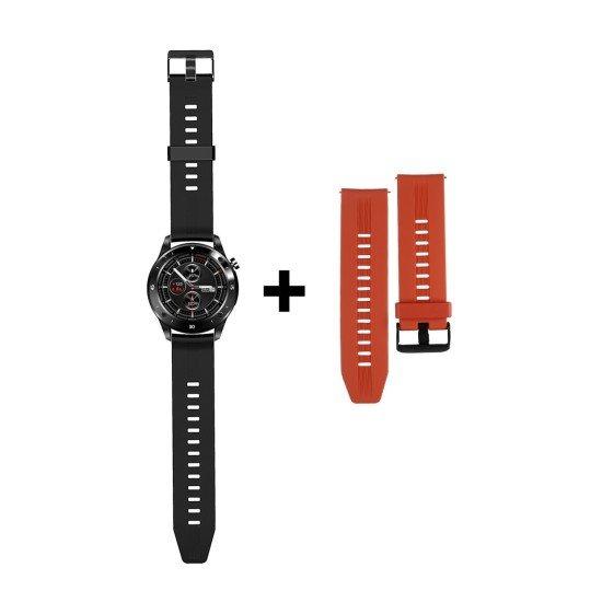 Smarte Armbanduhr FontaFit 500CH Teso schwarz Metallgehäuse, Ersatzarmband, Sport, Puls, IP67