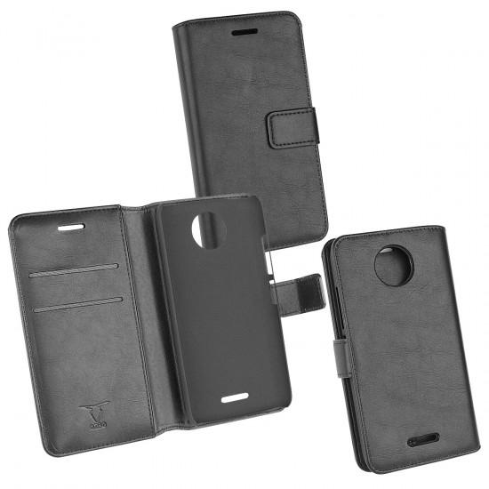 PU Tasche Diary Business schwarz komp. mit Motorola Lenovo Moto C Plus