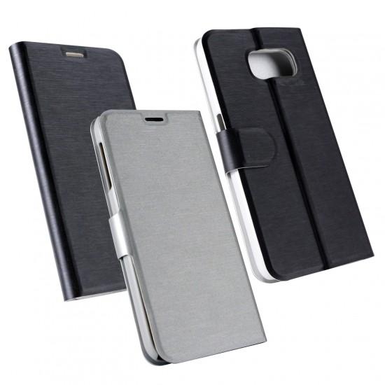 PU Tasche Diary Chameleon schwarz/silber komp. mit Samsung Galaxy S6