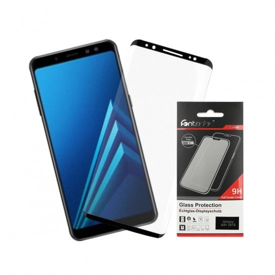 Full Cover Schutzglas Schwarz komp. mit Samsung Galaxy A8+ (2018)