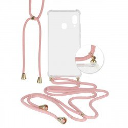 Hybridcover Thea transparent with Strap - pink comp. with Samsung Galaxy A20s