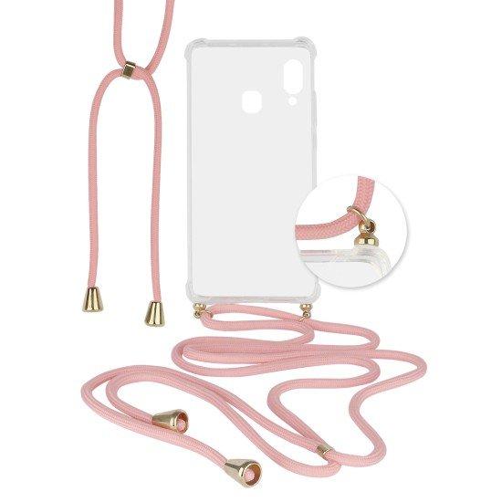 Hybridcover Thea transparent mit Kordel pink komp. mit Samsung Galaxy A20s