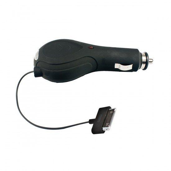 Kfz-Ladekabel Rollup 1A MicroUSB schwarz inklusive Apple 30-Pin Adapter