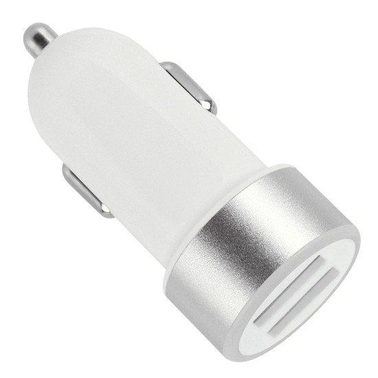 Kfz-Ladeadapter Picco Twin-USB 2.4A weiß/silber