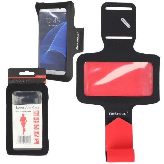 Sport Armband Slim Schwarz Rot 3XL 160x78MM, Schlüsselfach, Kopfhörer-Slots