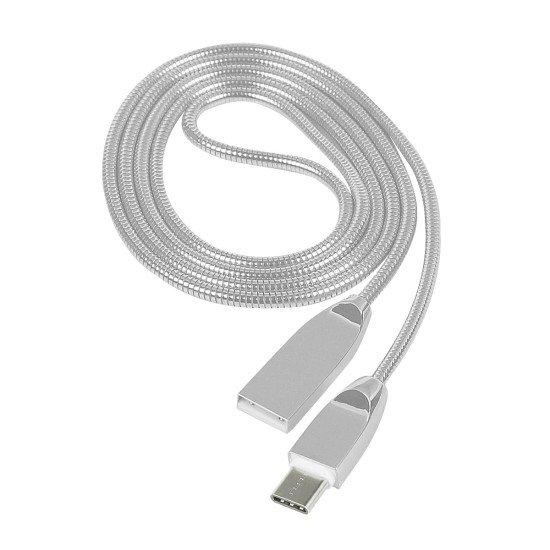 Datenkabel Shine USB A > Type-C 2.0 1.2m Silber Stecker Alu-Gehäuse Kabel Metall-Ummantelung