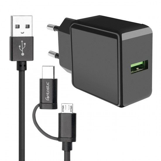 Essential Netzteil Speed Fast2.0, USB 2.4A schwarz inklusive Micro-USB/Type-C Datenkabel 1.2m