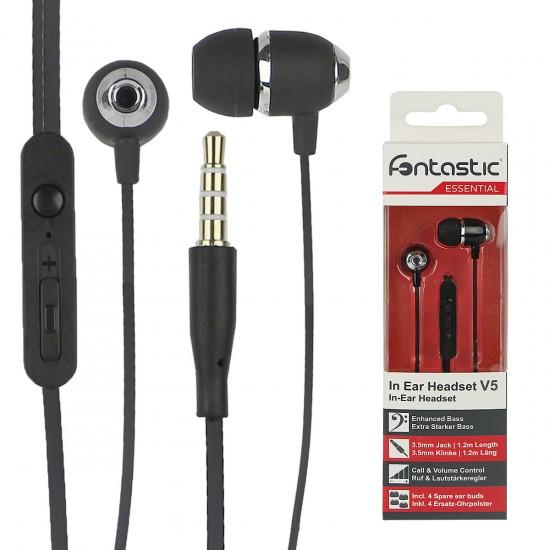 Essential In-Ear Stereo-Headset V5 sw Perleffekt Rufannahme-Taste, Lautstärkeregelung, Mikrofon