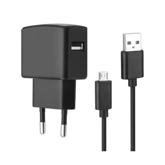 Essential Netzteil USB 2.4A schwarz inklusive MicroUSB Datenkabel 150cm