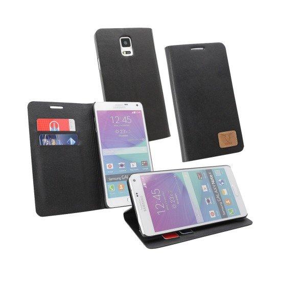 PU Tasche Diary Slim schwarz komp. mit Samsung Galaxy Note 4
