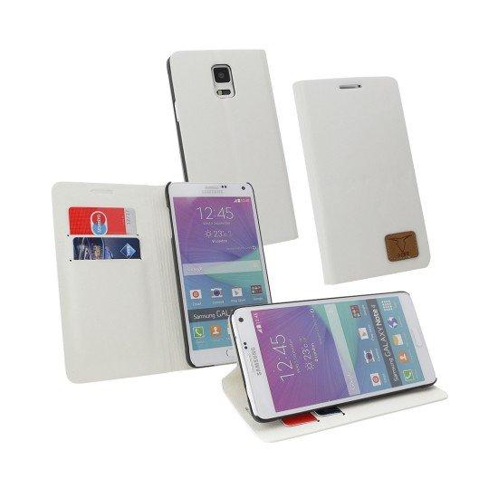 PU Tasche Diary Slim weiß komp. mit Samsung Galaxy Note 4