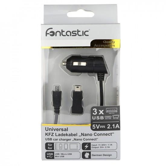 Kfz-Ladekabel Nano Connect Micro/USB 2.1A schwarz inklusive MiniUSB Adapter