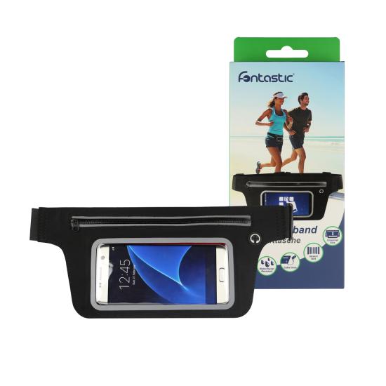 Sport Hüfttasche mit Touch Sensitivem Fenster sw/r Öffnung für Kopfhörer-Kabel, Wasserabweisend